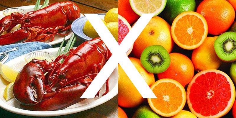 không nên ăn hải sản với trái cây